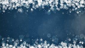 Boże Narodzenia obramiają na błękitnym tle Abstrakcjonistyczna zimy karta z płatkami śniegu royalty ilustracja