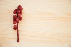 Boże Narodzenia obramiają: rożki, cynamon, jagody, acorn na drewno stole obrazy stock