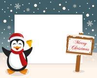 Boże Narodzenia Obramiają - Szyldowego & Ślicznego pingwinu Fotografia Royalty Free