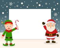 Boże Narodzenia Obramiają - Zielony elf & Święty Mikołaj ilustracja wektor
