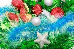 Boże Narodzenia ornamentują, gwiazdy, rożki, piłki, świecidełko Zdjęcie Stock