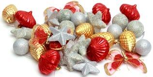 Boże Narodzenia ornamentują, gwiazdy, rożki, piłki, świecidełko Fotografia Stock