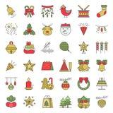 Boże Narodzenia ornamentują ikona set, płaskiego projekta editable uderzenie ilustracja wektor