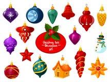 Boże Narodzenia ornamentują, piłka i nowego roku bauble ikona royalty ilustracja