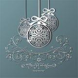 Boże Narodzenia osrebrzają piłki Obrazy Royalty Free