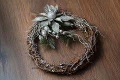 Boże Narodzenia osrebrzają wianek Fotografia Stock