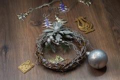Boże Narodzenia osrebrzają wianek Zdjęcia Royalty Free