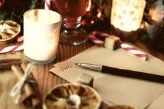 Boże Narodzenia piszą list z pikantność Zdjęcia Royalty Free