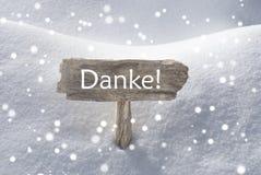 Boże Narodzenia Podpisują Śnieżnego płatek śniegu Danke sposób Dziękuje Ciebie Obrazy Royalty Free