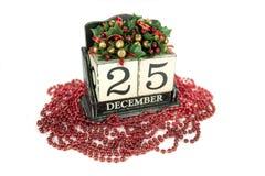 Boże Narodzenia porządkują z 25th Grudniem na drewnianych blokach Zdjęcia Stock