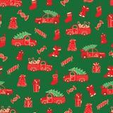 Boże Narodzenia przewożą samochodem i prezenty czerwień i zieleń wzór royalty ilustracja