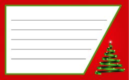 Boże Narodzenia przylepiają etykietkę z faborkiem w formie drzewa i interliniują dla teksta royalty ilustracja