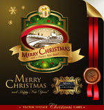 Boże Narodzenia przylepiają etykietkę z uroczym zima krajobrazem Zdjęcie Royalty Free