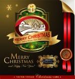 Boże Narodzenia przylepiają etykietkę z uroczym zima krajobrazem Zdjęcia Stock