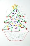 boże narodzenia rysują dzieciaka drzewa Obrazy Stock