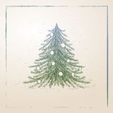 boże narodzenia rysujący ręki drzewo Zdjęcia Stock