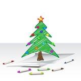 boże narodzenia rysuje drzewa Zdjęcia Royalty Free