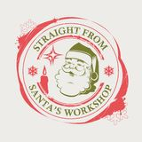 Boże Narodzenia stemplują z Święty Mikołaj i, kleksami i świeczkami czerwieni, zieleni odcień z royalty ilustracja
