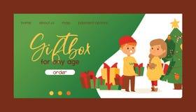 Boże Narodzenia 2019 Szczęśliwego nowego roku kartka z pozdrowieniami dziewczyny i chłopiec wektorowych przyjaciół świętują wpóln royalty ilustracja