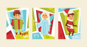 Boże Narodzenia 2019 Szczęśliwych nowy rok kartki z pozdrowieniami dzieciaków szczęśliwych dzieci tła sztandaru wakacji zimy kost ilustracji