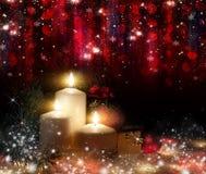 Boże Narodzenia Trzy świeczki i błękitnej świerczyna obraz royalty free