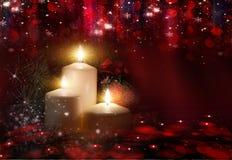Boże Narodzenia Trzy świeczki i błękitnej świerczyna zdjęcia royalty free