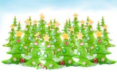 boże narodzenia uprawiają ziemię drzewa ilustracja wektor