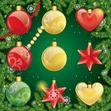 boże narodzenia ustawiać zabawki dekoracja nowego roku ilustracja wektor