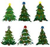 boże narodzenia ustawiają drzewa Zdjęcie Royalty Free