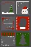 Boże Narodzenia ustawiają ikony - drzewo, bałwan, mitynka Wektorowa kreskówki ilustracja prezenta opakowanie Obraz Stock