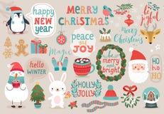 Boże Narodzenia ustawiający, ręka rysujący styl, zwierzęta i inni elementy, - kaligrafia, ilustracji