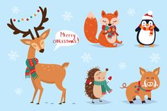 Boże Narodzenia ustawiający, ręka rysujący styl, zwierzęta i inni elementy, - kaligrafia, również zwrócić corel ilustracji wektor royalty ilustracja