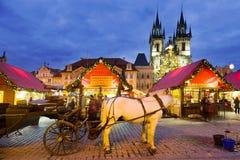 Boże Narodzenia wprowadzać na rynek w Praga, republika czech (UNESCO) Obraz Stock