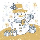 Boże Narodzenia wręczają patroszoną kartę z Bożenarodzeniowym bałwanem ilustracja wektor