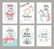 Boże Narodzenia wręczają patroszone śliczne karty z pingwinem, jednorożec, niedźwiedziem, ptakiem, drzewami i innymi elementami,  royalty ilustracja