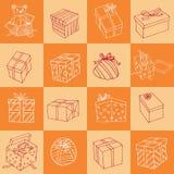 Boże Narodzenia wręczają patroszone ikony ustawiać ilustracja Obrazy Royalty Free