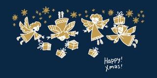 Boże Narodzenia wręczają patroszonego kartka z pozdrowieniami wektoru szablon royalty ilustracja