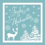 Boże Narodzenia Wręczają Patroszonego Wektorowego kartka z pozdrowieniami Biali Jeleni Jedlinowych drzew śniegu płatki niebieska  royalty ilustracja