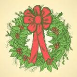 Boże Narodzenia wreath z jemiołą Zdjęcie Royalty Free