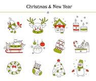 Boże Narodzenia wykładają ikona set ilustracji