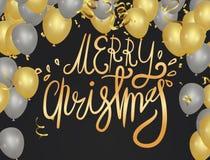 Boże Narodzenia Xmas literowania wakacyjny projekt Wektoru przyjęcie szybko się zwiększać ilustrację Confetti i faborki zaznaczaj ilustracja wektor
