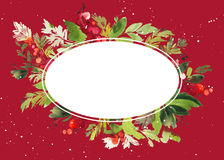 Boże Narodzenia z jagody akwarelą Obraz Stock