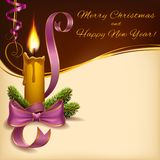 Boże Narodzenia zaświecali świeczka horyzontalnego format Zdjęcie Royalty Free