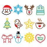 Boże Narodzenia, zim ikony ustawiają - Święty Mikołaj, bałwan Zdjęcie Royalty Free