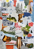 Boże Narodzenia, zimy atmosfery nastroju deski kolaż fotografia stock