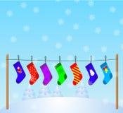 Boże Narodzenie 3 pończochy Fotografia Royalty Free