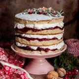 Boże Narodzenie Ablegrujący tort z Malinowym dżemem i Batożącą śmietanką obrazy royalty free