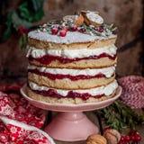 Boże Narodzenie Ablegrujący tort z Malinowym dżemem i Batożącą śmietanką fotografia stock