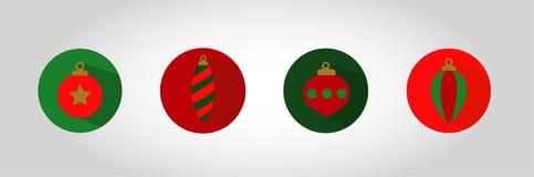 Boże Narodzenie bąbla ikony set ilustracja wektor