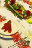 Boże Narodzenie czerwony stół Zdjęcia Stock